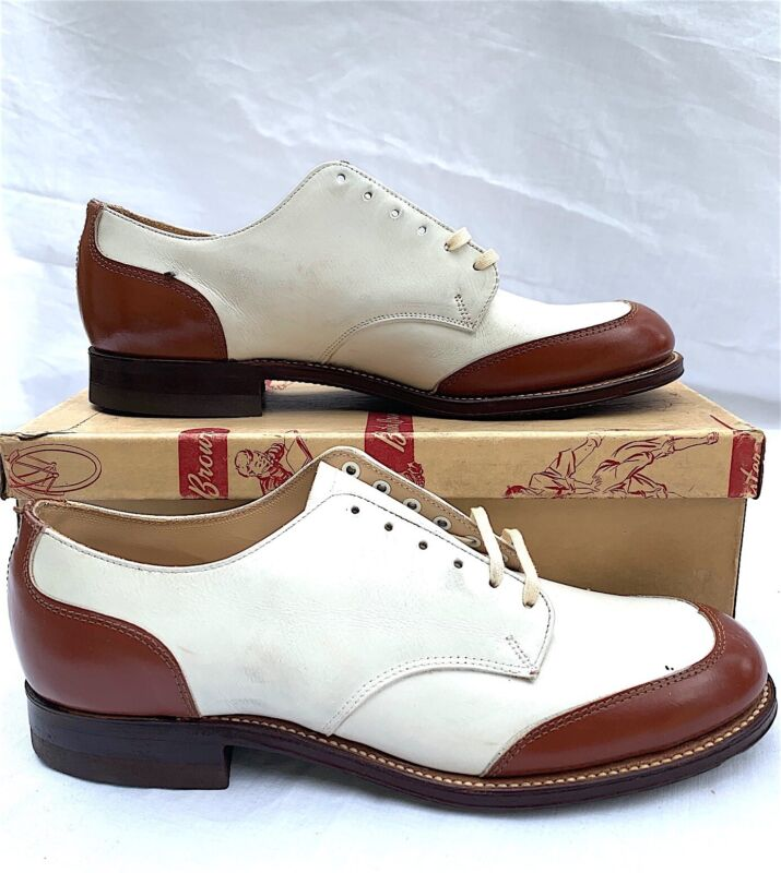 Vintage Buster Brown Boy's Shoes Brown White Leather