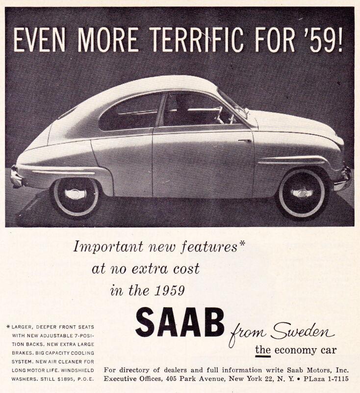 1959 SAAB  ~  GREAT ORIGINAL SMALLER PRINT AD