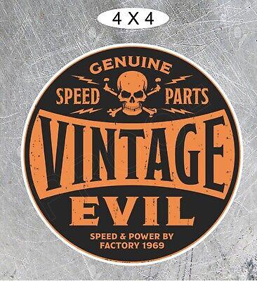 Vintage Evil Speed Shop Round ORANGE Motorcycle Indian HELL BENT FOR SPEED