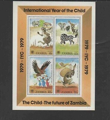 ZAMBIA #199a 1979 YEAR OF THE CHILD MINT VF NH O.G S/S