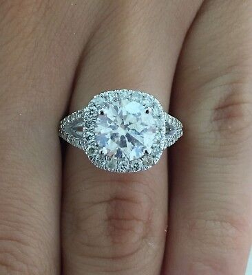 3 50 Ct Round Cut D Si1 Cushion Halo Diamond Engagement Ring 14K White Gold