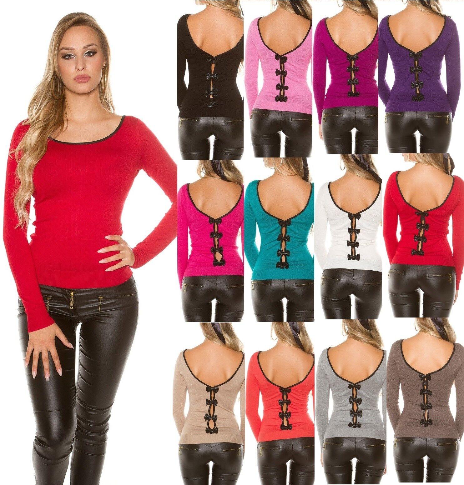 Sexy KouCla Pullover Pulli Strickpullover Sweater mit Schleifen
