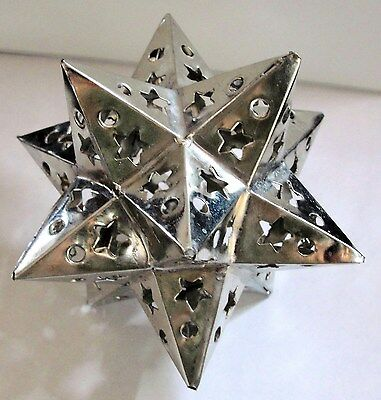 TIN  STAR  3 DIMENSIONAL    CHRISTMAS ORNAMENT !  HANDMADE!!