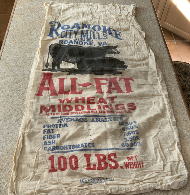 Old 100lb. Feed Sack Roanoke City Mills Inc~All-Fat Wheat Middlings-Chase Bag Co