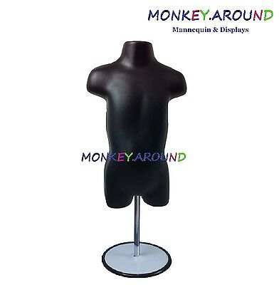 Toddler Mannequin Form Hanger Stand Body Dress Unisex Display Shirt - Black