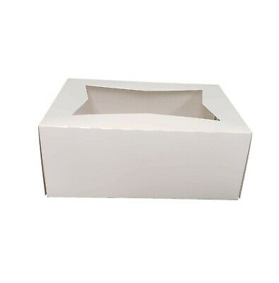 10 14 X 8 X 4 White Kraft Paperboard Window Bakery Cookie Box - 15 Pieces
