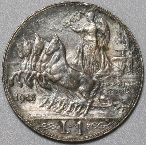 1913 Italy 1 Lira Horses & Chariot Silver XF Coin (20061703R)