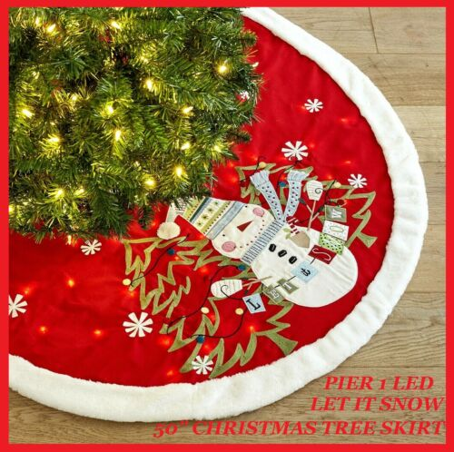 """Pier 1 Imports 50"""" LED Light-Up Snowman Red Christmas Tree Skirt LET IT SNOW NWT"""