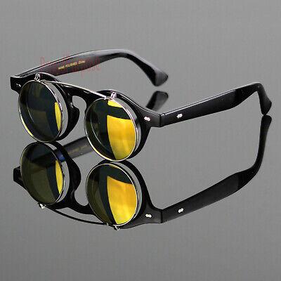 Cool Flip Up Lens Steampunk Vintage Retro Round Sunglasses Hippie Hipster Orange