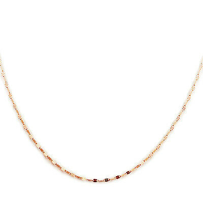 (14k Rose Gold Curved Mirror Chain Link Italy Sparkly Beautiful 16