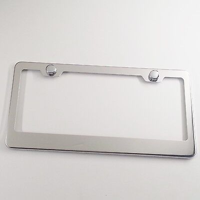 Polish T304 Stainless Steel License Plate Frame Bracket Holder New w/Chrome Cap 304 Stainless Steel Chrome Plated
