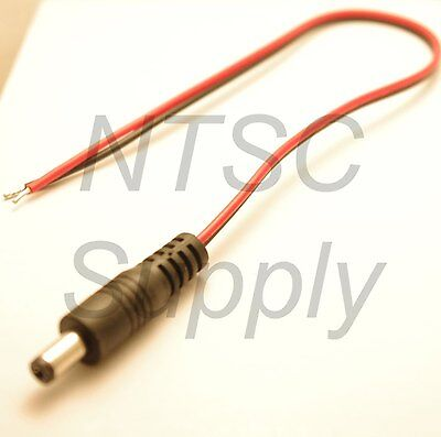 1 ft 5.5mm 2.1mm DC Power Pigtail Male Plug Connector Cable for CCTV Alarm LED