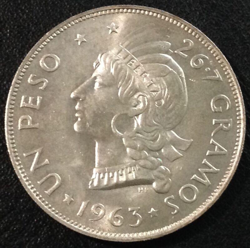 DOMINICAN REPUBLIC 1963 1 Peso Centennial Silver Crown BU