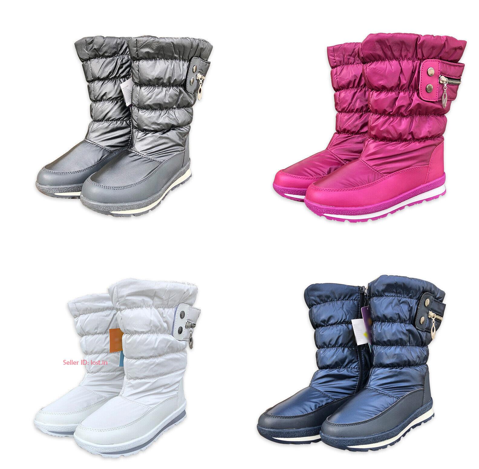 Kids Boys Girls Warm Waterproof Snow Boot Fleece Lined Therm