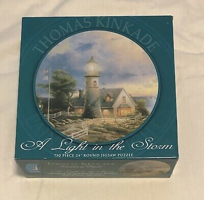"""SEALED Thomas Kinkade A Light In The Storm 750 Piece 24"""" ROUND Jigsaw Puzzle"""
