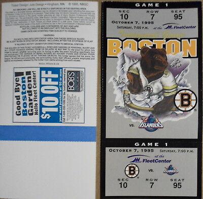 - BOSTON  BRUINS 2  REPLICA 1 ST GAME  FLEET CENTER  TICKET 10/7/95