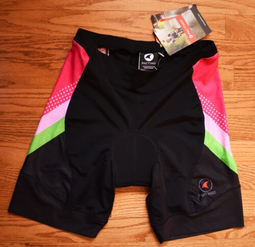 PACTIMO Padded Cycling Tri Shorts Womens XL Black Green Pink NEW NWT Triathlon