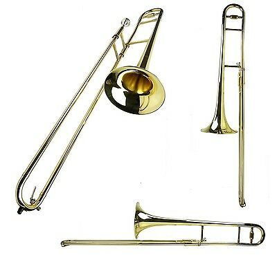 New B Flat Gold Brass Trombone with Case Ships From USA
