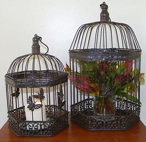 Set of 2 Decorative Metal Bird Cages Wedding Display Butterfly HexB GO102 MinSEC