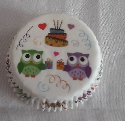 100 cute owl  white cupcake liners baking paper cup muffin cases 50x33mm - Owl Cupcake Papers