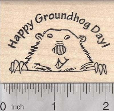 Happy Groundhog Day Rubber stamp H29422 WM](Groundhog Day Crafts)