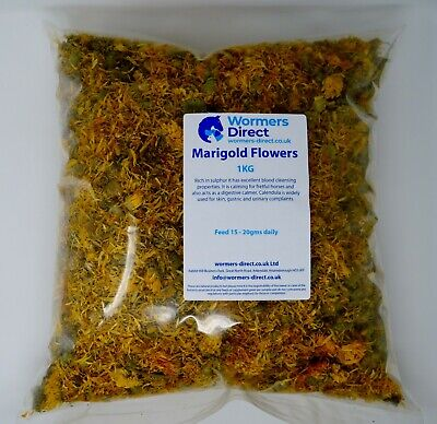 MARIGOLD FLOWERS 1KG CALENDULAR EQUINE HERB SUPPLEMENT FOR HORSES & PONIES