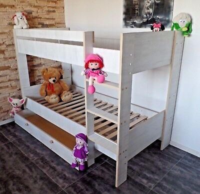 Kinder Hochbett (Hochbett Kinderbett Kinderzimmer Etagenbett Jugendbett  Rollrost Schublade Set !)