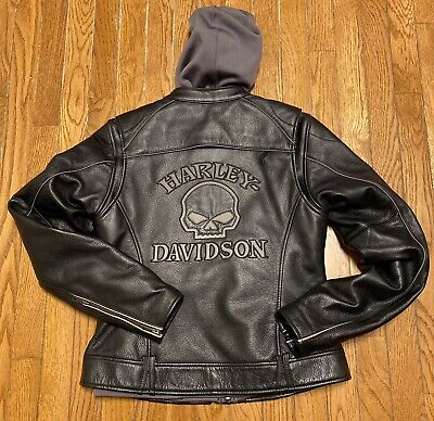 Harley Davidson Women's Reflective Willie G Skull Leather Jacket Small 3-in-1