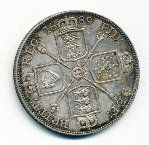 1889 GREAT BRITAIN, AU, SILVER FLORIN, KM #762
