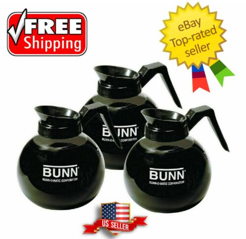 BUNN 5850 Commercial Glass Decanter 12 cup 64 oz Black Coffee Pot 3 Pack