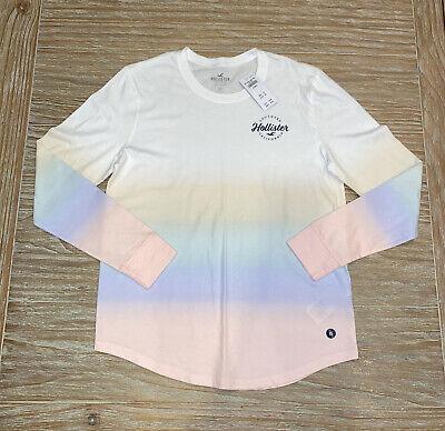 New Hollister Women's Long Sleeve Shirt Top Size XS White Ombré Curved Hem