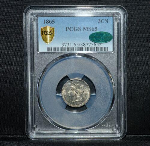 1865 3 CENT NICKEL ✪ PCGS MS-65 CAC ✪ 3CN 3C GEM UNCIRCULATED UNC L@@K ◢TRUSTED◣