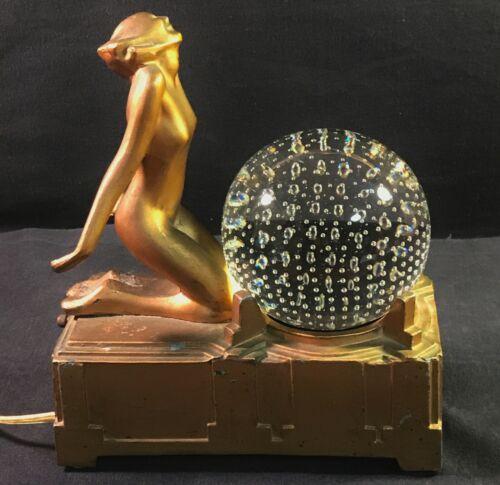 Antique Art Deco Frankart Lamp # L235 - Kneeling Nude - Works