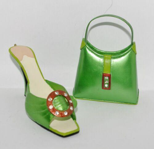 JC Penney GLITZ PUMP Resin Metallic Green HIGH HEEL SHOE & HANDBAG Ornaments