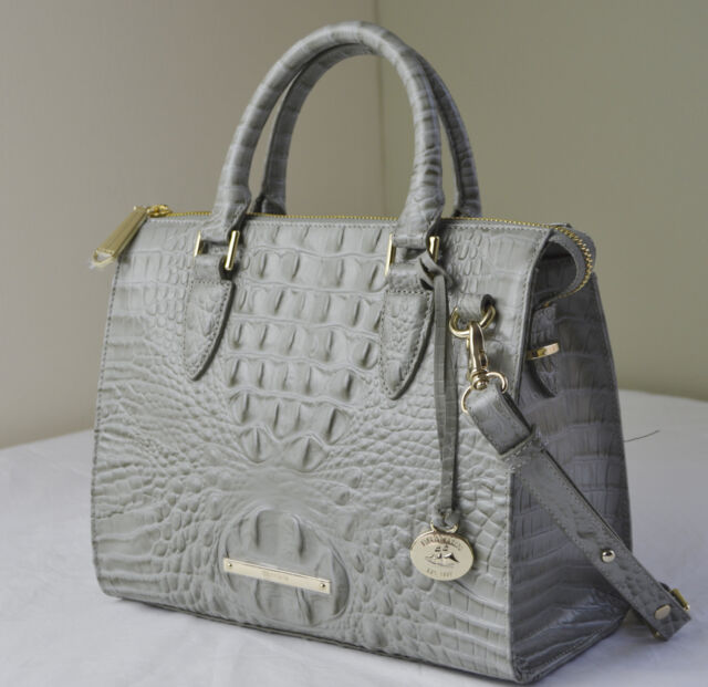 Brahmin Melbourne Anywhere Convertible Silver Sage Leather Satchel ...
