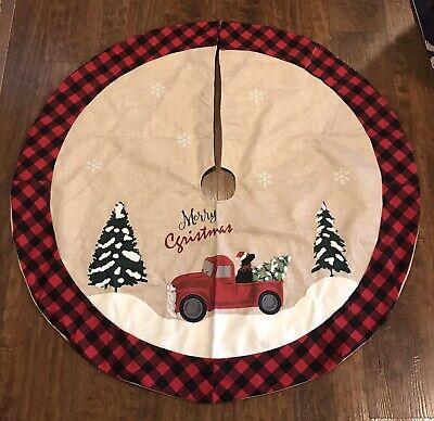 Christmas Tree Skirt Merry Christmas Truck Buffalo Plaid Red Black PatternNICE
