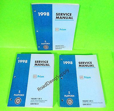 1998 Geo Prizm Service Shop Repair Manual Book Set