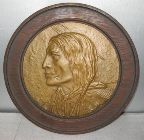ANTIQUE SOLID BRONZE  WALL PLAQUE, AMERICAN INDIAN ca. 1900, FRAMED