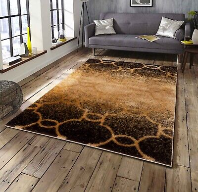 Gold Brown Moroccan Modern Soft Shag Shaggy Living Room Bedroom Area -