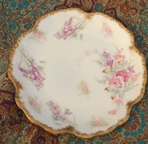 "ANTIQUE GOLD ELITE LIMOGES PLATE B&D  ROSE FLOWER SCALLOP BAWO DOTTER 7"" PLATE"