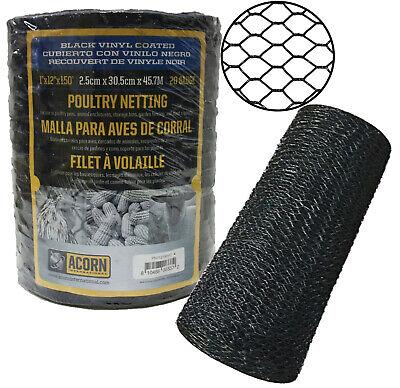 Acorn Int. Poultry Netting -black Vinyl-coated Mesh Pnvc112150 1 X 12 X 150