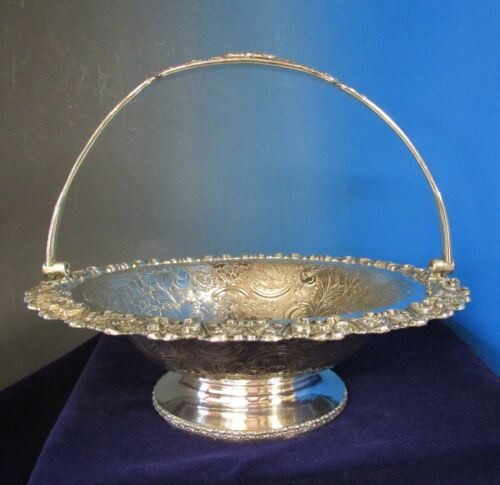 Antique English Old Sheffield Basket Silverplate on Copper Chased Embossed