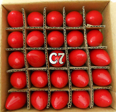 25 - C7 Red Ceramic Glass Replacement Bulbs Wedding Christmas Holiday