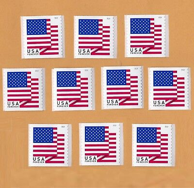 10 USPS Forever Stamps US Flag. New. Self-Stick Postage. FREE S+H United States