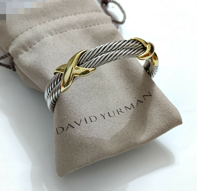 David Yurman Sterling & 10MM Double Cable X Bracelet