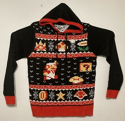 Super Mario Bros Ugly Christmas Sweater 2018 Nintendo Hooded Pullover Medium