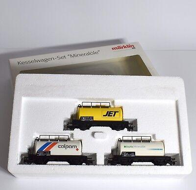 """Märklin H0 Kesselwagen - Set """" Mineralöle """" Jet, colpom und BayWa, OVP, X601"""