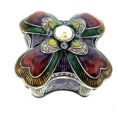 Pearl Jewelry Trinket Box Bejeweled Enamel Crystal Hinged Metal Keepsake Decor