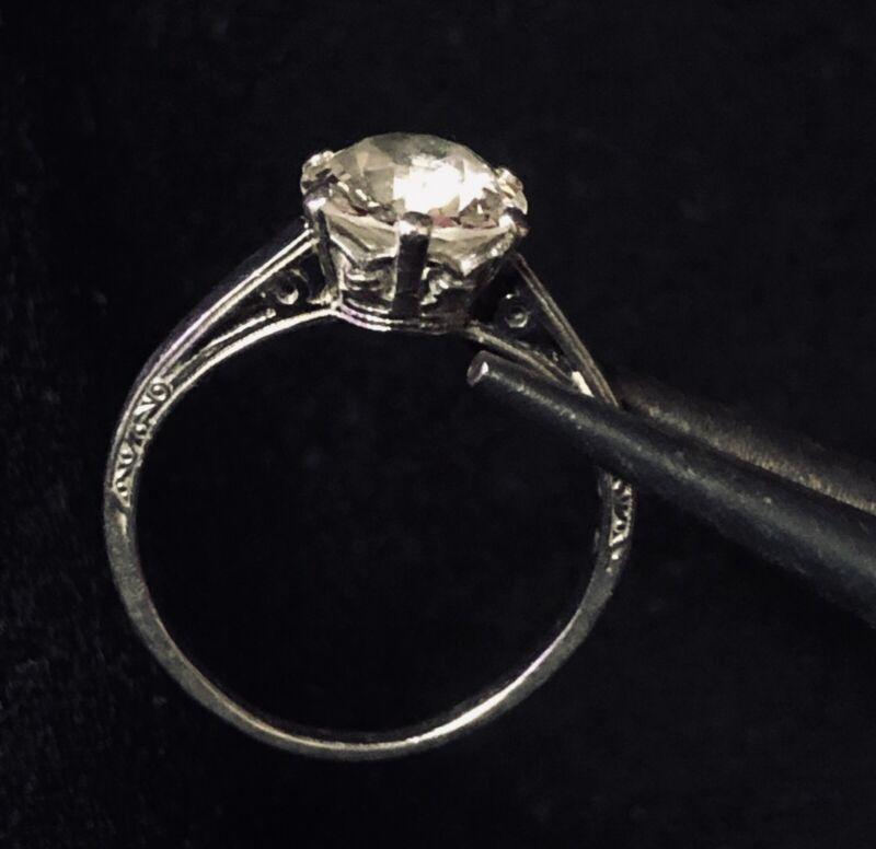 European Cut Diamond & Platinum Engagement Ring c. 1900
