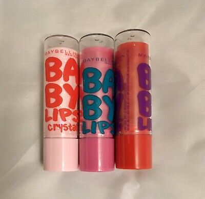 Baby Salve Tube - 3 tube lot MAYBELLINE BABY LIPS MOISTURIZING LIP BALM  Assorted New Lot #2
